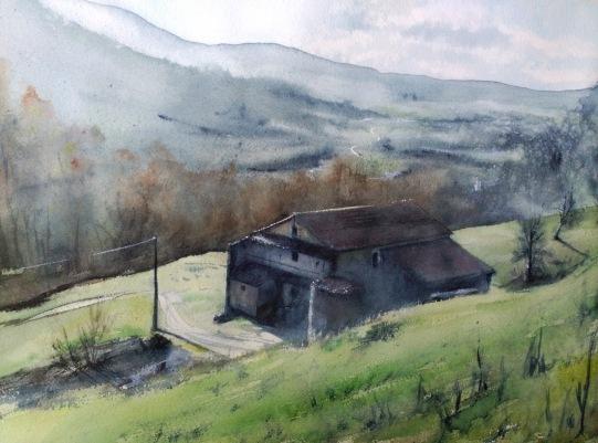 Casona Cantabria. Acuarela, 63x37cm