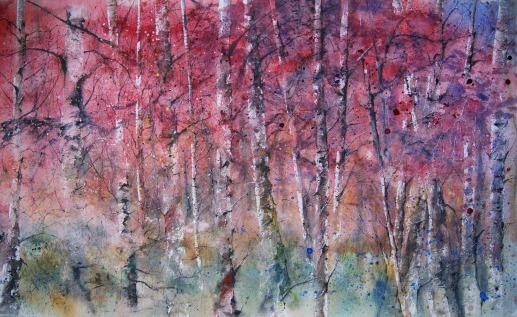 Abedules otoño. Acuarela, 46x76cm