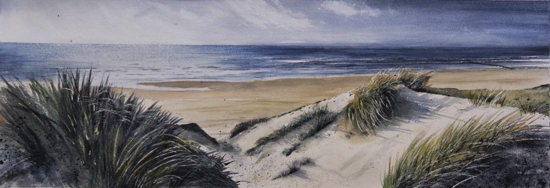 Playas de Den Helder, Holanda, Acuarela 25x71cm