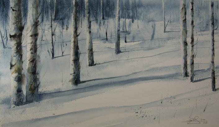 Abedules en la nieve. Acuarela, 64x37cm. Obra realizada en la grabación de un programa de 'Caza y pesca', Canal Plus