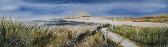 Playas del Norte. Acuarela, 13x44cm