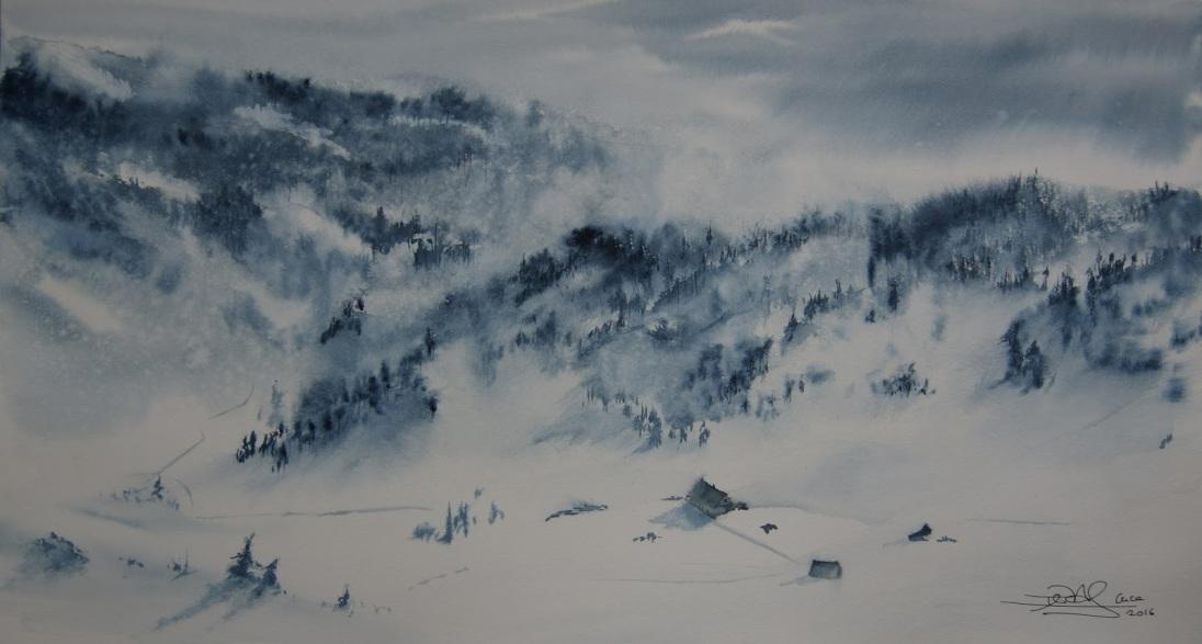 Refugio en la neve. Acuarela