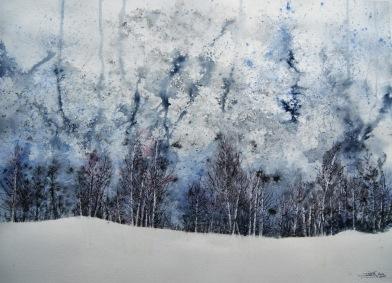 Bosque abedules nieve. Acuarela, 72x52cm