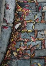 Hojas secas sobre adoquín. Acuarela, 76x56cm