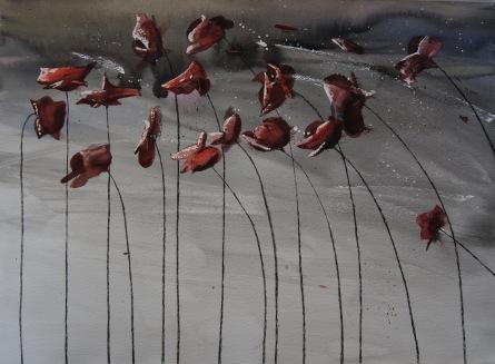 Amapolas rojas. Acuarela 75x56cm