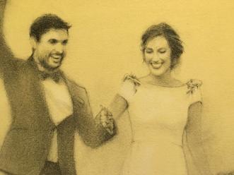 Boda Silvia y Salva - Retrato hecho en directo el día de su boda. Más informació: ver 'Encargos'