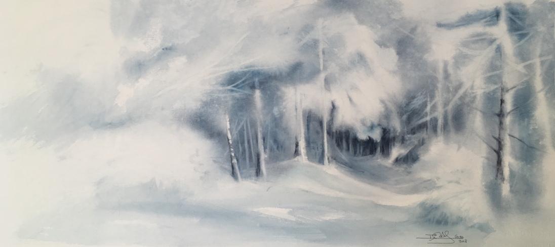 Bosque nevado. Acuarela, 72x31cm