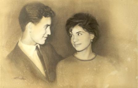 'Tristán y Victoria' - Grafito y Acuarela, 50x40cm