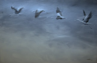 Vuelo de cigüeñas. Acrílico sobre lienzo, 100x 70cm