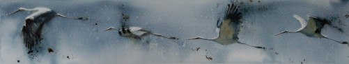 Vuelo de cigüeñas, Acuarela 127x20cm