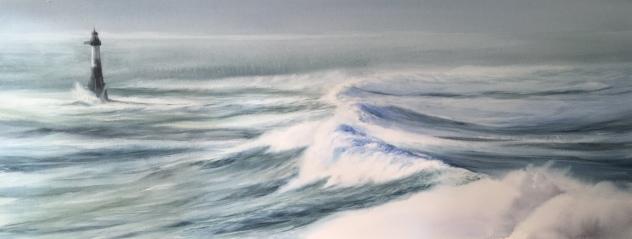 Faro Ar-Men, Bretaña II - Acuarla, 100x37cm