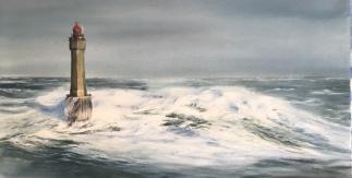 Faro La Jument, Bretaña - Acuarela, 69x37cm