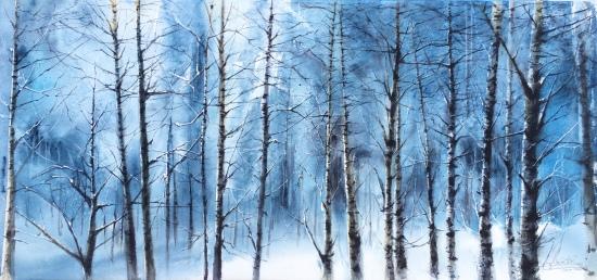 Bosque nevado - Acuarela, 79x37cm