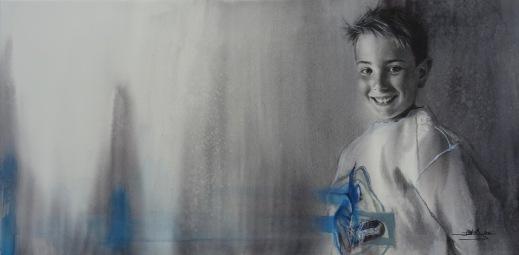 'Dani' - Acuarela y grafito, 100x50cm.
