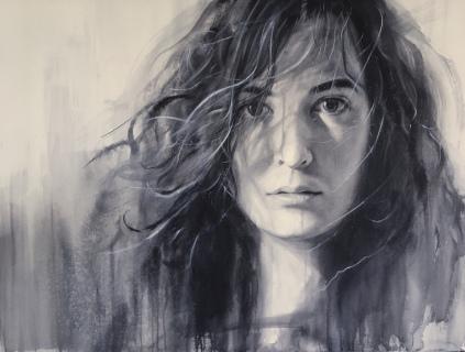 'María' - Acuarela 115x90cm. OBRA PRE-SELECCIONADA en el Concurso Internacional de Pintura, Figurativas 2019. Podéis ver el proceso del retrato en mi Canal de Youtube.