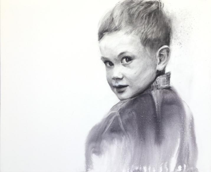'Peter' -Acuarela sobre lienzo 3D, 70x50cm