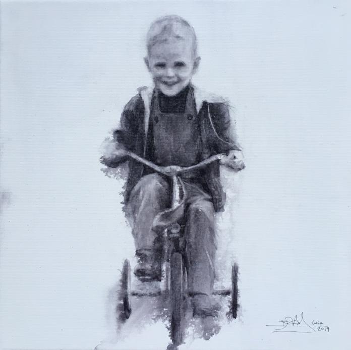 'Peter' - Acuarela sobre lienzo 3D, 20x20cm
