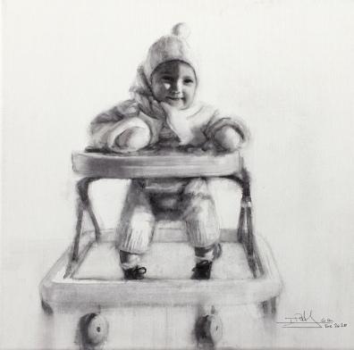 'Irene' - Acuarela sobre lienzo 3D, 20x20cm