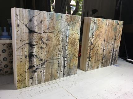 Díptico de Abedules - Acuarela sobre papel y pegado en bastidor de madera, 40x20cm // PVP. 250€