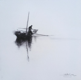 VENDIDA 'Pescador' - Acuarela sobre lienzo, 40x40cm PVP. 220€