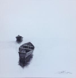 VENDIDA 'Barcas' - Acuarela sobre lienzo, 40x40cm PVP. 220€