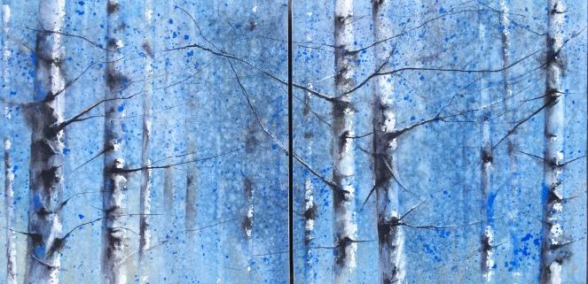 Díptico de Abedules - Acuarela sobre papel y pegado en bastidor de madera, 40x20cm