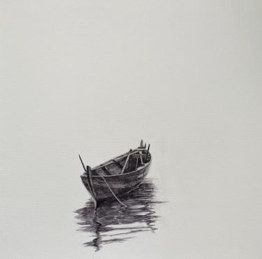 'Mar en calma' - Acuarela sobre lienzo, 40x40cm. PVP: 150€