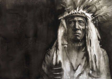 Indio Americano, Tribu Piegan. 1900 Acuarela, 70x50cm. // 750€