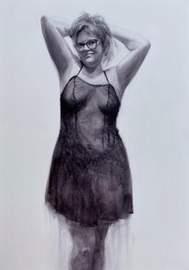 'Mónica' - Acuarela sobre lienzo, 60x100cm