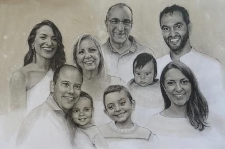 'Feliz 40 aniversario, Mª Luisa y Jesús' - Grafito y Acuarela, 62x41cm