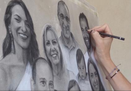'Feliz 40 aniversario, Mª Luisa y Jesús - Grafito y Acuarela, 62x40cm